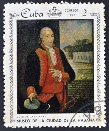 americal: CUBA - CIRCA 1972: A stamp printed in Cuba dedicated to paintings Museum of city Havana, shows painting of J. Del Rio - Portrait of Luis de las Casas, circa 1972  Editorial