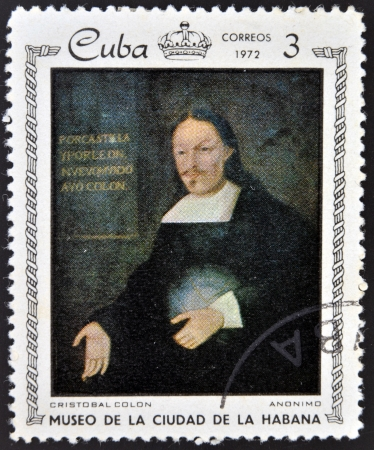 CUBA - CIRCA 1972: A stamp printed in Cuba dedicated to paintings Museum of city Havana, shows painting of anonymous artist - Portrait of Cristobal Colon,  circa 1972  Stock Photo - 16309599
