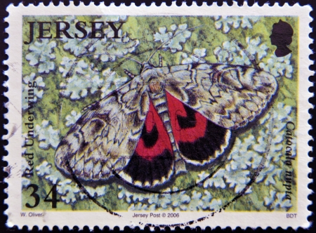 JERSEY - CIRCA 2006: A stamp printed in Jersey shows red underwing, catocala nupta, circa 2006  Stock Photo - 16306946