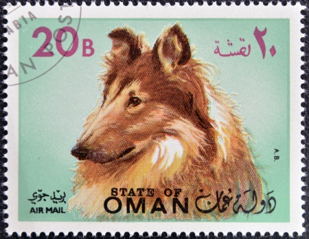 OMAN - CIRCA 1971: sello impreso en Omán, muestra un perro de raza collie, circa 1971