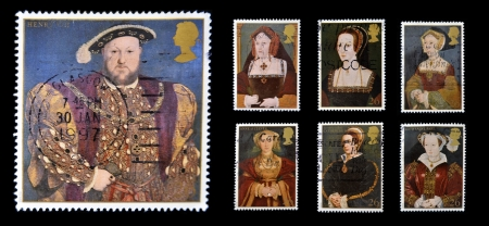 viii: UNITED KINGDOM - CIRCA 1997: Stamps printed in Great Britain dedicated to The Great Tudor, shows King Henry VIII and his six wives, circa 1997