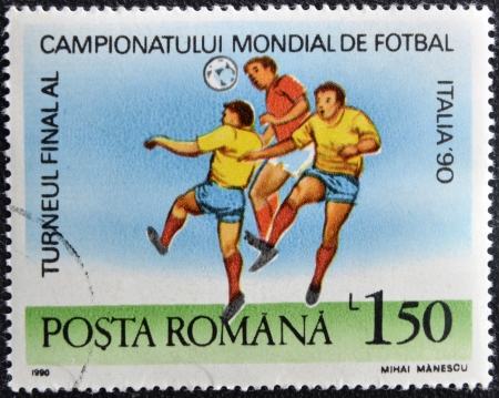 ROMANIA - CIRCA 1990: A stamp printed in Romania dedicated to Soccer World Championship of Italy 1990, circa 1990 Stock Photo - 16306874