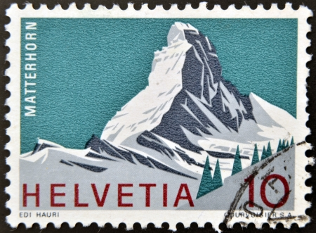 perforated stamp: SWITZERLAND - CIRCA 1980: A stamp printed in Switzerland shows Matterhorn, Swiss Alps, circa 1980