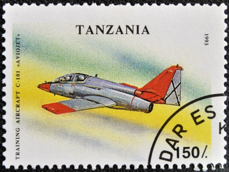 TANZANIA - CIRCA 1993: A stamp printed in Tanzania shows training aircraft C-101 Aviojet, circa 1993 photo