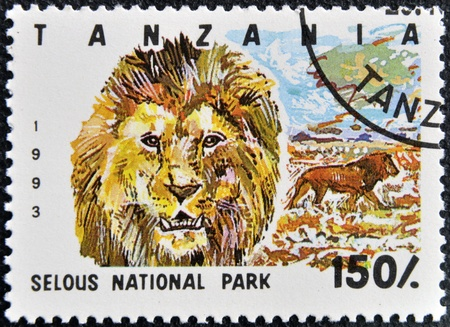 TANZANIA - CIRCA 1993: Stamp printed in Tanzania dedicated to selous national park, shows lion, circa 1993 photo