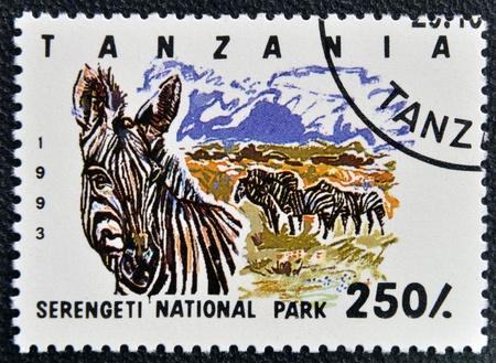 serengeti: TANZANIA - CIRCA 1993: Stamp printed in Tanzania dedicated to Serengeti national park, shows zebra, circa 1993 Stock Photo