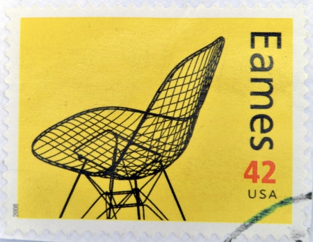 UNITED STATES OF AMERICA - CIRCA 2008: A stamp printed in USA shows eames chair, circa 2008 photo