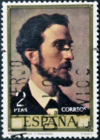 rosales: SPAIN - CIRCA 1976: A stamp printed in Spain shows Rosales by Jose de Madrazo, circa 1976  Editorial