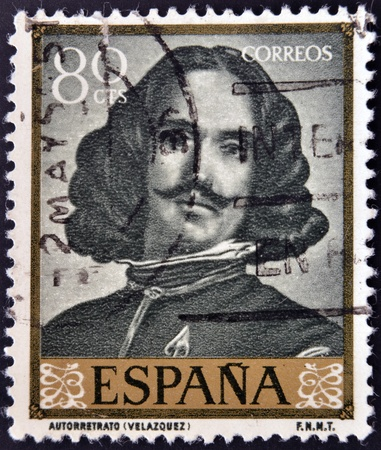 velazquez: SPAIN - CIRCA 1959: A stamp printed in Spain shows Self portrait by Diego Velazquez, circa 1959 Editorial