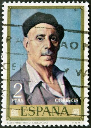 ignacio: SPAIN - CIRCA 1971: stamp printed in Spain shows self-portrait of Ignacio Zuloaga, circa 1971  Editorial