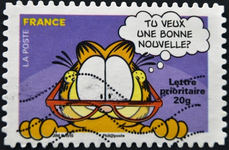 FRANCE - CIRCA 2008: A stamp printed in France shows Garfield, circa 2008  Stock Photo - 16372469