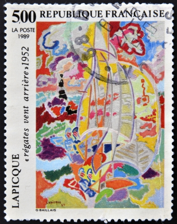 FRANCE - CIRCA 1989: A stamp printed in France showing the painting &amp,quot,New Wind Race&amp,quot, by Lapicque, circa 1989 Stock Photo - 16424544