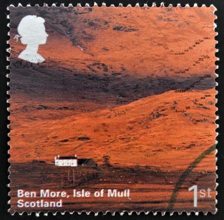Mull: UNITED KINGDOM - CIRCA 2003: A stamp printed in Great Britain shows Ben More, Isle of Mull, Scotland, circa 2003