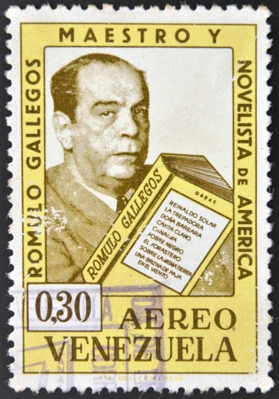 VENEZUELA - CIRCA 1964: A stamp printed in Venezuela showing a Romulo Gallegos portrait, teacher and novelist, circa 1964 Stock Photo - 16372507