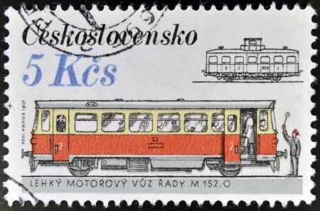 CZECHOSLOVAKIA - CIRCA 1986: A stamp printed in Czechoslovakia shows streetcars, circa 1986