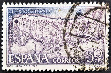 camino de santiago: SPAIN - CIRCA 1971: A stamp printed in Spain shows map with the routes of the Camino de Santiago, circa 1971 Stock Photo