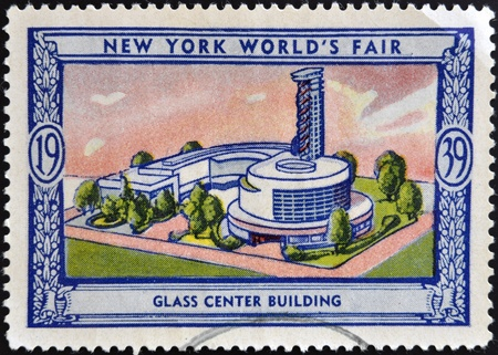 UNITED STATES OF AMERICA - CIRCA 1939: A stamp printed in USA dedicated to new york worlds fair 1939, shows glass center building, circa 1939
