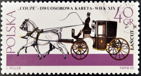 POLAND - CIRCA 1965: A stamp printed in Poland shows Horse-drawn Carriage from the series Horse-drawn Carriages, Lancut Museum, circa 1965