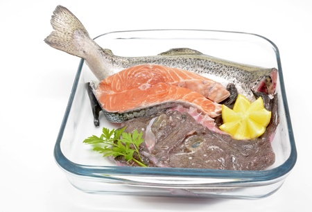 Composition with different uncooked fish: monkfish, salmon and seabream Stock Photo - 16647231