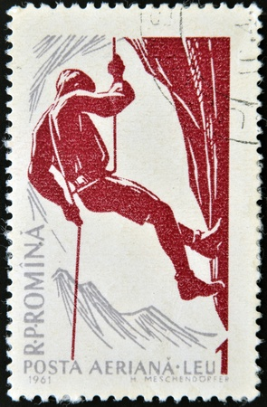 ROMANIA - CIRCA 1961: A stamp printed in Romania shows Mountain climber series, circa 1961