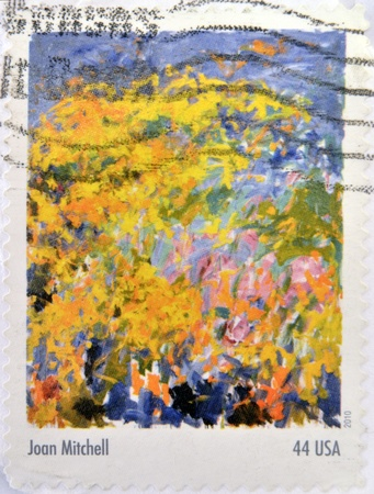 printmaker: UNITED STATES OF AMERICA - CIRCA 2010: A stamp printed in USA shows a painting by Joan Mitchell, From the Abstract Expressionists Stamp Collection, circa 2010  Editorial