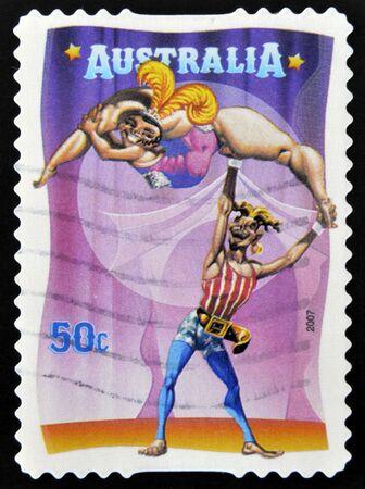 joking: AUSTRALIA - CIRCA 2007: A stamp printed in Australia dedicated to circus, shows The Banana Lady, circa 2007  Stock Photo