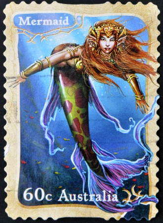 AUSTRALIA - CIRCA 2011: A stamp printed in Australia shows mermaid, circa 2011 photo