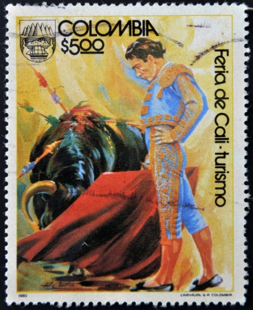 COLOMBIA - CIRCA 1980: A stamp printed in Colombia dedicated to Cali Fair - tourism, shows bullfight, circa 1980