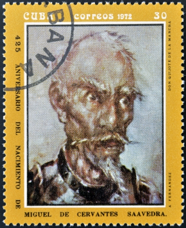 CUBA - CIRCA 1972: A stamp printed in Cuba shows portrait of Don Quijote De La Mancha, circa 1972.