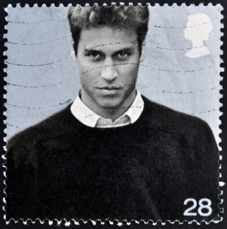 heir: UNITED KINGDOM - CIRCA 2003: A stamp printed in Great Britain shows Prince William of Wales, circa 2003