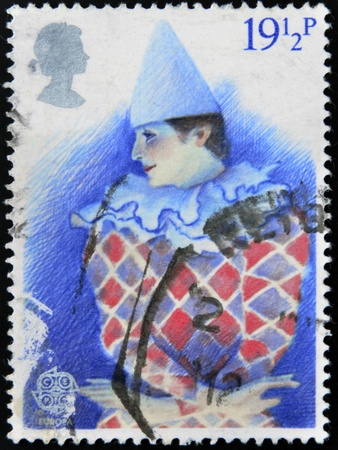 UNITED KINGDOM - CIRCA 1982: A stamp printed in Great Britain dedicated to Harlequin. British Theatre, circa 1982  Stock Photo - 16961345