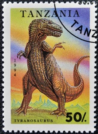 TANZANIA - CIRCA 1994: A stamp printed in Tanzania shows Tyranosaurus, circa 1994