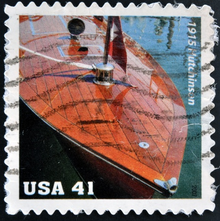 UNITED STATES OF AMERICA - CIRCA 2007: A stamp printed in USA shows Hutchinson Bros Launch Vintage Mahogany Speedboats, circa 2007 Stock Photo - 16959264