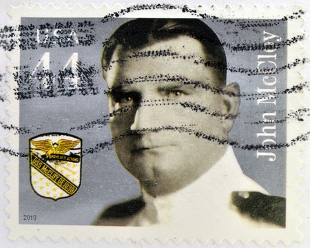 american banker: UNITED STATES OF AMERICA - CIRCA 2010: A stamp printed in USA shows John McCloy, circa 2010 Editorial