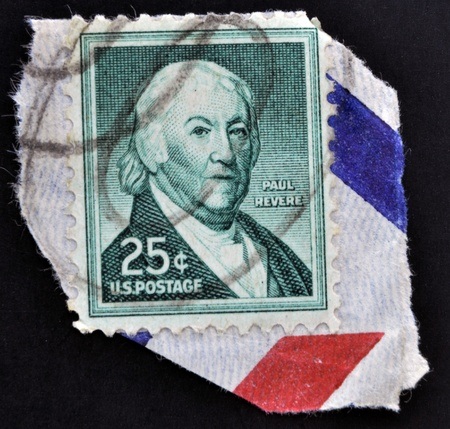 revere: UNITED STATES OF AMERICA - CIRCA 1954: A stamp printed in USA shows Paul Revere, American silversmith, industrialist, patriot in the American Revolution, circa 1954  Editorial