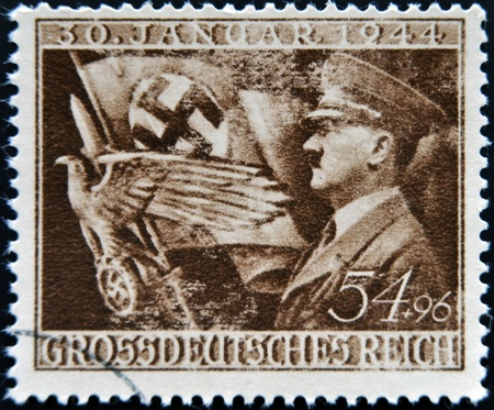 reich: GERMAN REICH - CIRCA 1944: A stamp printed in Germany shows image of Adolf Hitler, circa 1944