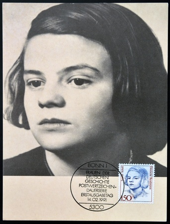 murdered: GERMANY - CIRCA 1991: A stamp printed in Germany shows Sophie Scholl, circa 1991 Editorial