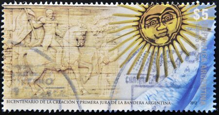 allegiance: ARGENTINA - CIRCA 2012 A stamp printed in Argentina dedicated to bicentenary of the creation and first pledge of allegiance Argentina, circa 2012 Stock Photo