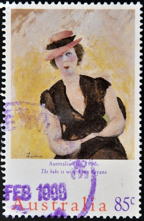 AUSTRALIA - CIRCA 1996: A stamp printed in Australia shows the babe is wise by Lina Bryans, circa 1996