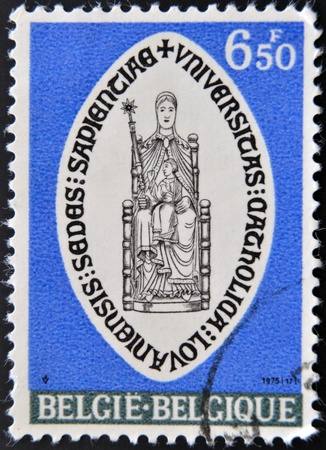 BELGIUM - CIRCA 1975: A stamp printed in Belgium shows shield of the Catholic University of Leuven, circa 1975  Stock Photo - 17140191