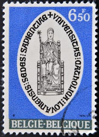 leuven: BELGIUM - CIRCA 1975: A stamp printed in Belgium shows shield of the Catholic University of Leuven, circa 1975