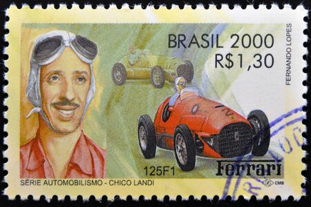 BRAZIL - CIRCA 2000: A stamp printed in Brazil dedicated to motor shows Chico Landi, circa 2000  Stock Photo - 17145415
