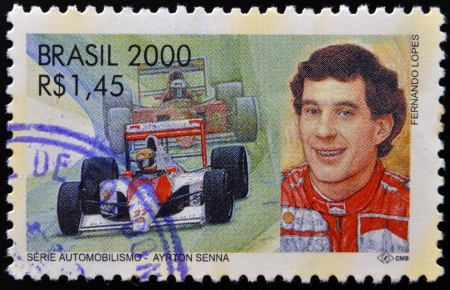 BRAZIL -  CIRCA 2000: A stamp printed in Brazil dedicated to motor shows Ayrton Senna, circa 2000