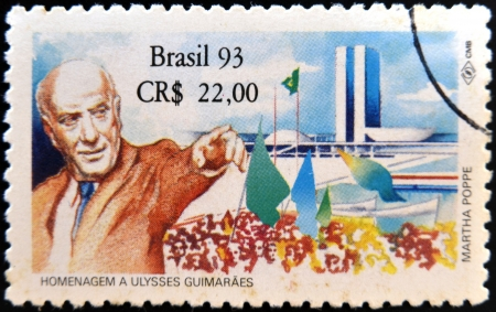 law of brazil: BRAZIL - CIRCA 2003: A stamp printed in Brazil shows Ulysses Guimaraes, circa 2003  Editorial