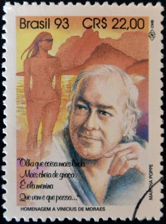 BRAZIL - CIRCA 1993: A stamp printed in Btrazil shows Vinicius de Moraes, circa 1993
