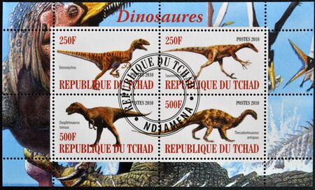 CHAD - CIRCA 2010: Stamps printed in Chad shows dinosaurs, circa 2010  photo