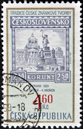 CZECH REPUBLIC - CIRCA 1999: A stamp printed in Czech Republic shows image of Prague in 1929, circa 1999 photo