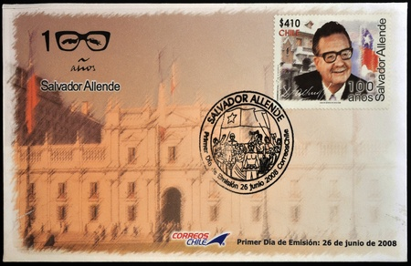 salvador allende: CHILE - CIRCA 2008: A stamp printed in Chile shows Salvador Allende, circa 2008