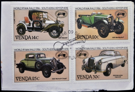 VENDA (SOUTH AFRICA) - CIRCA 1986: Stamps printed in South Africa shows Historic cars, circa 1986