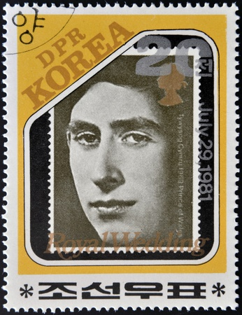 lady diana: NORTH KOREA - CIRCA 1981: A stamp printed in DPR Korea dedicated to royal wedding of the prince of wales to Lady Diana Spencer, shows Prince Charles, circa 1981